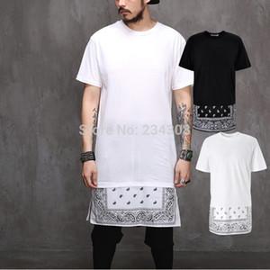 Yaz adam CX200613 için Paisley Bandana Baskı TEE Görünmez fermuar Moda kısa kollu genişletilmiş batı versiyonu uzatmak t shirt başında