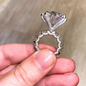 Jóias garra clássico seis Big Diamond Ring Vintage 925 Sterling Silver White Topaz Oval Cut CZ pedras preciosas Eternity Mulheres casamento banda anel