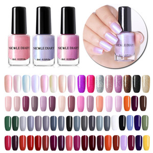 NICOLE DIARY 73 Colors Nail Polish Nude Red Gray Glitter Pearl Nail Art Varnish Water-based Manicure Art Lacquer 6ml