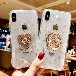 Luxury Glaring Sparkle Bling crystal Diamond Stand Soft Back Cover For Samsung S8 S9 Plus Note 8 9 Phone Xs MAX XS XR Case