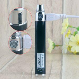 2019 Nova Chegada bateria Evo Ugo-T Novos Projetos Vape Baterias Mods 650 mah UGO T eVod USB Passthrough E Cigarro Autêntico