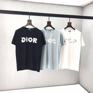 2020 printemps et en été T-shirt de femmes 100% coton T-shirt de fleurs de broderie tout le match Slim dames hommes T-shirt à manches courtes WR05