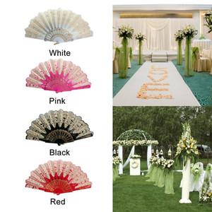 Spanish Style Dance Party Fans Wedding Silk Lace Fan Folding Held Flower Fan Lady Wedding Folding Hand Fans