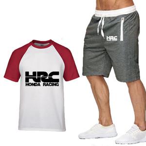 2020 neue Männer-T-Shirts HRC Rennen Motorrad Auto-Logo druckte das Sommer-Gradient beiläufige Baumwolle Männer T-Shirt + Kurzschlussklage 2pcs