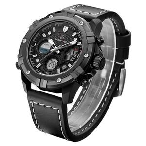 Couro Top GOLDENHOUR Negócios Preto Relógios Men Quartz Chronograph Waterproof Sport Watch Man Relogio Masculino
