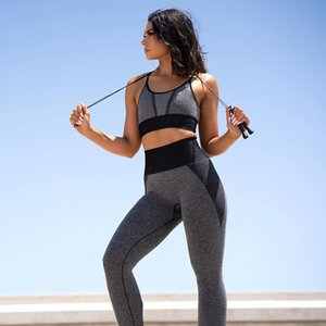 New Summer Women Seamless Yoga Set Fitness Clothing High Waist Gym Leggings+Padded Push Up Outfit Sports Bra Running Sportswear