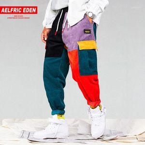 Aelfric Eden Uomini velluto a coste Patchwork Tasche Cargo Pants 2018 Harem Pantaloni Harajuku Pantaloni felpa Hip Hop Streetwear Pantaloni UR511