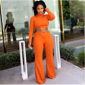 Women Set Cotton Crop Top Pants Outfit 2 Piece Set Tracksuits for Women Female Lady Winter Women's Two Piece Women's Suit 2020