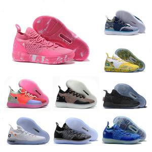 2019 Nouveau KD 11 tante Pink Pearl Paranoid Cool Grey EYBL Kevin Durant XI Hommes Chaussures de basket Top 11s KD11 Chaussures de sport en mousse Size7-12