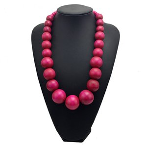 Fashion Bohemia Colorful Unique Wood Beads Exaggerated Necklace For Women Statement Necklace Jewelry Accessories