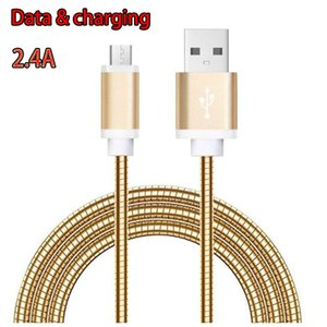 2.4A fast charging USB Cable 1M 3ft Metal Spring Mobile Phone Data snyc Charge Cables for Samsung S10 NOTE 10 HUAWEI P20 PRO