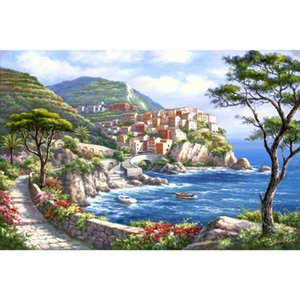 Handgemalte schöne mediterrane Ölgemälde Enclave Harbour Artwork für Wohnzimmer Dekor