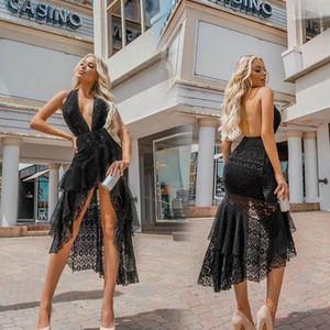 Melmaid Kolsuz Bayan Elbise Parti Seksi Derin V Yaka Backless Halter Yaz Kadın dizayn edilmiş elbiseler Düzensiz Hollow Out