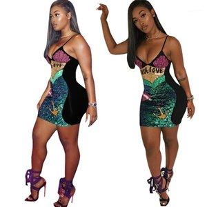 Bodycon dei vestiti da partito e il Club delle donne donne sexy Summer Dress progettista Abiti Moda cinghia di spaghetti Paillettes