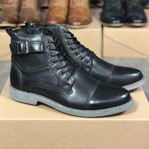 Diseñador para hombre del motorista Martin botas hombres otoño invierno botas de los zapatos de encaje hasta el 100% cuero auténtico antideslizante suela de goma al aire libre zapatos para hombre