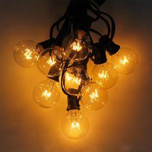 Patio luces G40 globo fiesta Navidad Cadena de luz, blanco cálido 25 claro Vintage bombillas 25ft, decorativo al aire libre patio trasero Garland