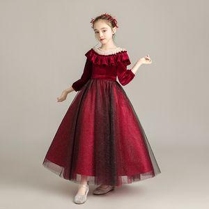 Tick Tok Children's Host Evening Dress Princess Dress Pompous Girl's Long Sleeve Flower Girl's Wedding Show
