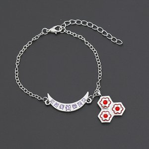 Cristallo Crescent Classic Moon Flower Bracelet per le donne di modo delle ragazze prugna fascini fiore strass Bangles Jewelry Gifts