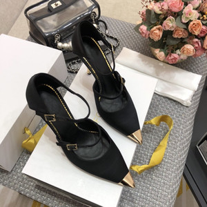 Spring summer 2020 High-end quality fashion fashion ladies leather real silk high heels height of 8.5CM 35-39