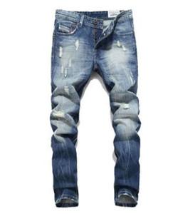 New Hot Sale Mode Hommes Jeans Balplein Marque Droite Fit Jeans Déchiré Designer Italien Détresse Denim Jeans Homme! A982 S1012