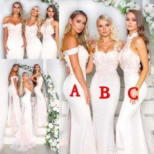 Onur Elbiseler BC1103 Of 2019 Halter Saten Mermaid Uzun Gelinlik Modelleri 3D Çiçek Dantel Aplike SweepTrain Örgün Parti Wedding Guest Hizmetçi