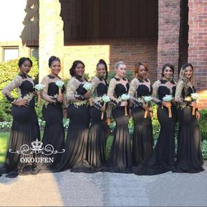 2k17 Şeffaf Boyun Denizkızı Gelinlik Modelleri ile Uzun Kollu Denizkızı Kadınlar Siyah Sıkı Spandex Altın Aplikler Abiye