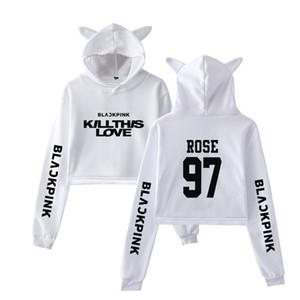 2019 2019 블랙 핑크 새 노래 KILL THIS LOVE 인쇄 고양이 자르기 최고 여성 여름 후드 플러스 사이즈 후드 운동복 섹시한-K 팝 팝