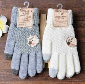 Inverno Touch Screen Gloves Donna Uomo Warm Stretch Knit Guanti Imitazione di lana Full Finger Guanti Donna Crochet Luvas addensare T590