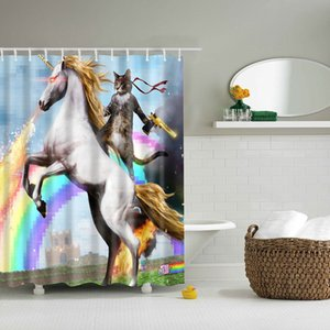 high quality adventures of Unicorn and Cat Printed Shower Curtains Bath Products Bathroom Decor with Hooks Waterproof CX200704