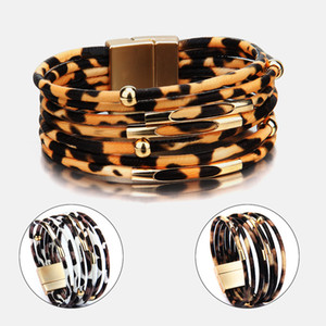 Bracelet en cuir Leopard pour les femmes de la mode magnétique Fermoir breloques Bracelets Bangles élégant Multilayer Bracelet Wrap Bijoux cadeau VT0981