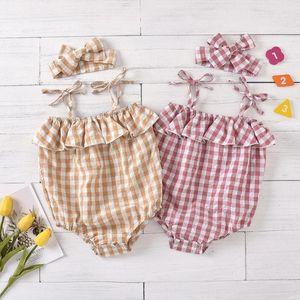 Newborn Infant Baby Girl Plaid Romper Bodysuit Jumpsuit+Hair Ring Set Outfits