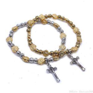 Jesus Cruz Vintage Pulseiras Rose charme Elastic Rope Bangle Bead Bracelet para as Mulheres Homens Declaração de jóias presente de Natal Halloween