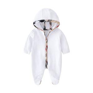 Vendita al dettaglio neonato plaid pagliaccetti con cappuccio pagliaccetto tutina in cotone manica lunga tutina tuta tute abbigliamento per bambini boutique