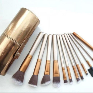 Profession Makeup Brush Set 12 pcs Makeup Brushes in a cup holder Gold Cosmetic Brushes With Cylinder Cup Holder
