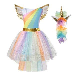 Yofeel 무지개 유니콘 드레스 소녀 코스프레 의상 아이 투투 비행 소매 파티 할로윈 크리스마스 공주 드레스 MX190822