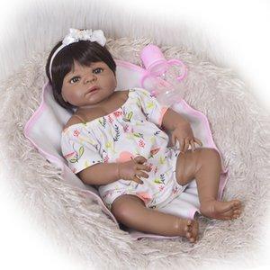 Koleksiyon 23 İnç Reborn Baby Doll Tüm Vücut Silicone'nun 57cm Gerçekçi Siyah Cilt Baby Doll Kız Çocuk Doğum Hediye Sahte Bebek Oyuncak T200209