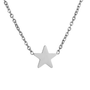 2020 New Style Stainless Steel Star Pendant Female Necklace Simple Glossy Five-pointed Star Necklace for Women Birthday Gift