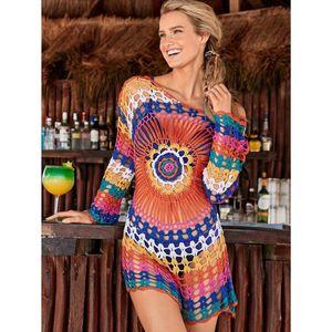 İçi boş Out El Yapımı Yaz Bluz Plaj Elbise Tunik Uzun Kollu Mini Elbise Beachwea sayesinde Renkli Tığ Plaj Kapak Yukarı bak