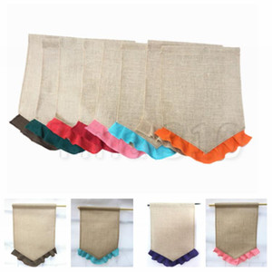 Colorful ruffle bunting garden flag 31*46cm 13 colors DIY jute bunting Garden Decorations hanging flag Gardenware T2I5097