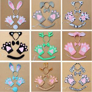 Orelhas dos animais Headband Define Kit headwear + luvas + Collar + Cauda Set Halloween Natal Páscoa traje acessórios para filhos adultos XD21753