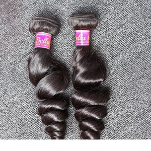 L 8 &Quot ;-30 &#039 ;&#039 ;Inch 100 %Indian Unprocessed Human Hair Extensions Natural Color Loose Wave Hair Bundles Bella Hair