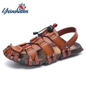 YEINSHAARS nuevo del verano sandalias de los hombres transpirable cuero de los hombres sandalias de la playa de marca zapatos cómodos ocasionales Resbalón-en el informal