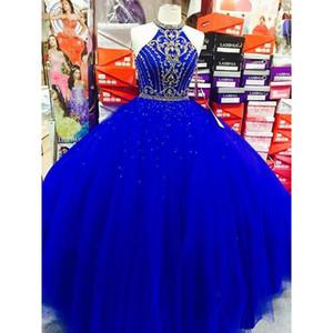 Royal Blue Ball Gown Prom Dress Vestidos De Quinceanera 2020 High Neck Gold Beads Sweet 16 Girls Evening Party Gowns