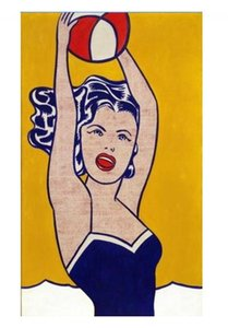 Roy Lichtenstein Fille avec Ball Haute Qualité Peint À La Main Abstrait Pop Art Peinture À L'huile Sur Toile Mur Art Home Office Decor g130