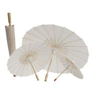 Blanco De Papel De Bambú Paraguas Arte Chino Pintura Del Paraguas Bailando Papel Blanco Paraguas Decoración Del Banquete de Boda Nupcial DBC VT0420