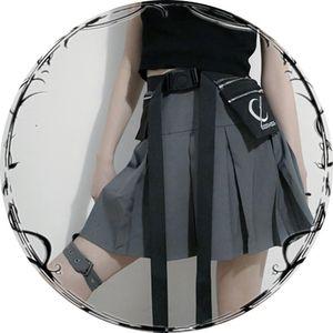 New Gothic Punk Harajuku Women Shorts Casual Cool Chic Preppy Style Advanced grey Pleate Black Female Fashion Shorts Skirts