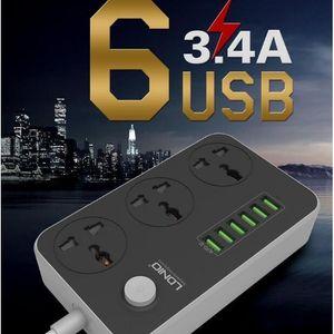 LDNIO SC3604 intelligent 6 Adaptateur Chargeur USB Alimentation Strip + 6 Prises ca Prise d'alimentation Surge USB protégé Prise de surcharge Protect US / EU / UK PLUG