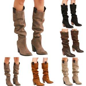 2019 Kadınlar Yüksek Boots Ayakkabı Casual Katı Renk Chunky Kare Topuk Boots Sonbahar Kış Sıcak Orta Yüksek Boot Yuvarlak Burun Ayakkabı Güz