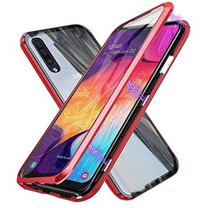 Toptan Manyetik Tam Ekran Koruyucu Alüminyum Çerçeve Temperli Cam Durumda Samsung Galaxy Için A10 A20 A30 A40 A50 A70 glas Kapak