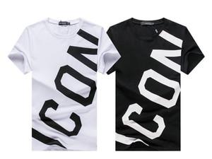 Письмо ICON Новый стиль Tide Марка Мужчины Хлопок Повседневный Tshirt краска Reverse курсор Роскошные Высокое качество Тонкий Snake T-Shirt Повседневная Tops Тис
